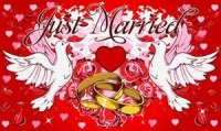 Just Married Fahne / Flagge 90x150 cm Motiv 2