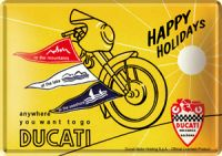 Ducati Happy Holiday Blechpostkarte 10 x 14 cm