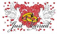 Just Married Fahne / Flagge 90x150 cm Motiv 3