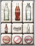Coca-Cola - Bottle Timeline Magnet Set (9 Teilig)