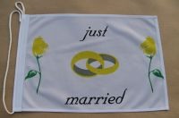 Just Married Fahne / Flagge 27x40 cm