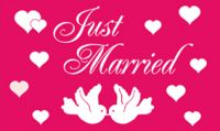 Just Married Fahne / Flagge 90x150 cm