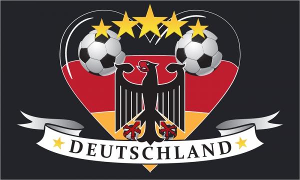 Deutschland Fahne Flagge 90x150 Cm Fussball Herz